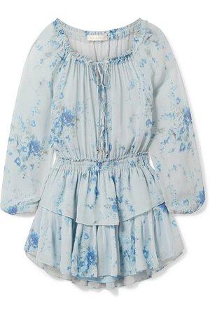 LOVESHACKFANCY Popover tiered floral-print silk-georgette mini dress
