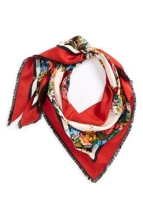 Gucci Josephine Stripe Square Silk Shawl Red