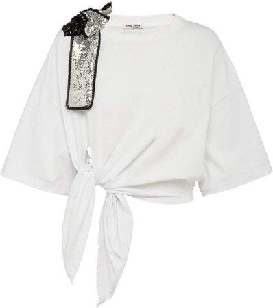 embellished bow T-shirt