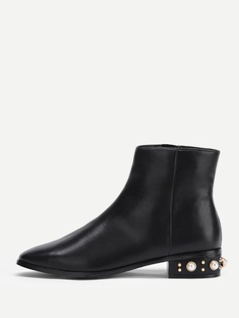 Faux Pearl Low Heeled PU Boots