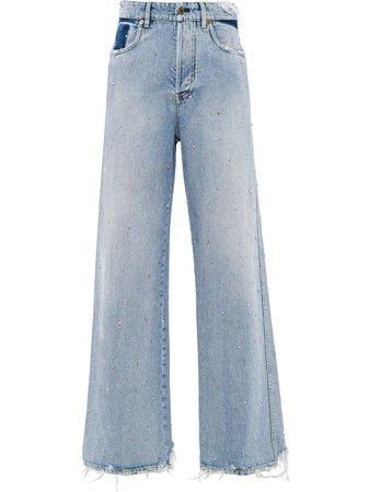 Miu Miu Frayed wide-leg Jeans - Farfetch
