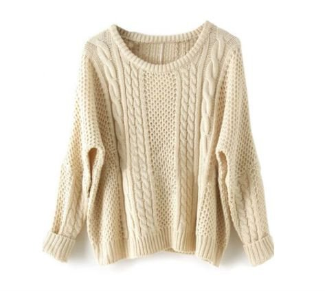 cream/white sweater cable knit