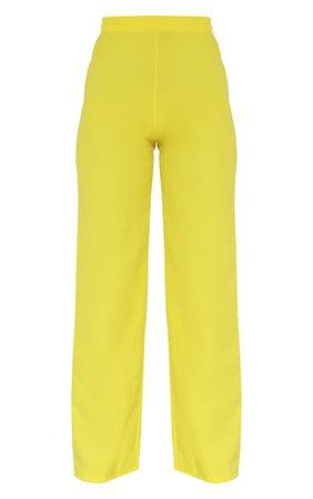 Petite Lemon Yellow Straight Trouser | Petite | PrettyLittleThing