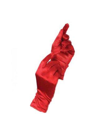 Wrist Length Red Satin Gloves - Victorian Gloves - Wrist Length Red Satin Gloves - Colonial Gloves