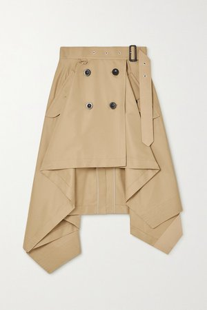 Asymmetric Gabardine Wrap Skirt - Beige