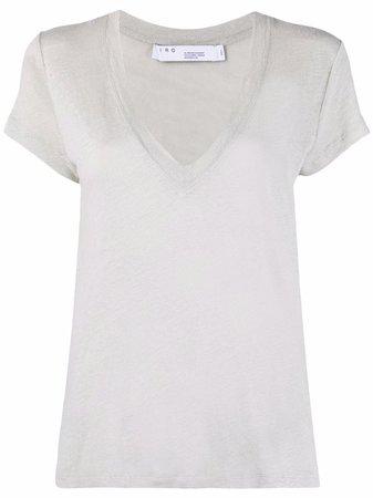 IRO v-neck linen T-shirt - FARFETCH