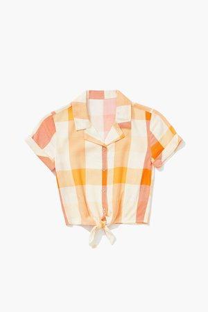 Girls Knotted Plaid Shirt (Kids)