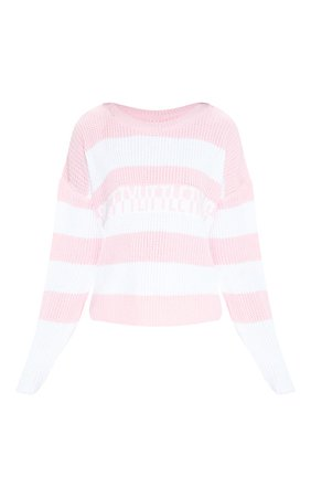 Prettylittlething Pink Stripe Knitted Jumper   PrettyLittleThing USA