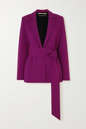 Balair Belted Stretch-crepe Blazer - Purple