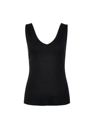 Black V-Neck Ribbed Vest | Dorothy Perkins