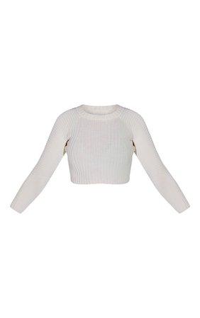 White Cropped Rib Knit Jumper   Knitwear   PrettyLittleThing USA