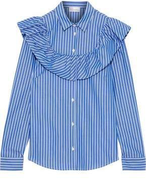 Ruffled Striped Cotton-poplin Shirt