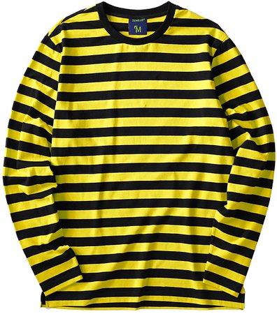 Striped Shirt Men Long Sleeve(XL, Black&Yellow Wide) | Amazon.com