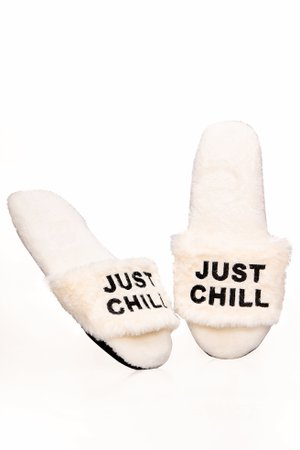 Just Chill Fur Slippers - Ivory
