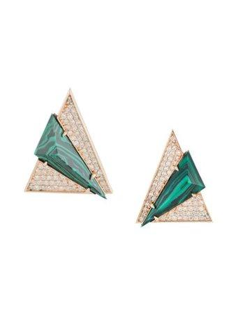 Terzihan 18kt Rose Gold Aztec Diamond Stud Earrings - Farfetch