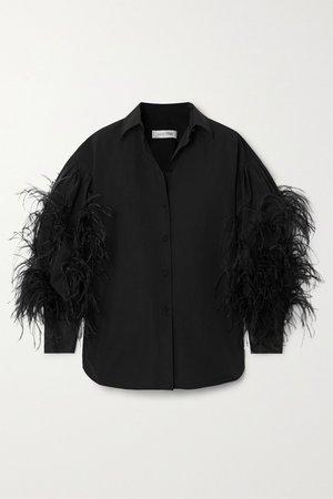 Black Feather-trimmed cotton-blend poplin blouse   Valentino   NET-A-PORTER