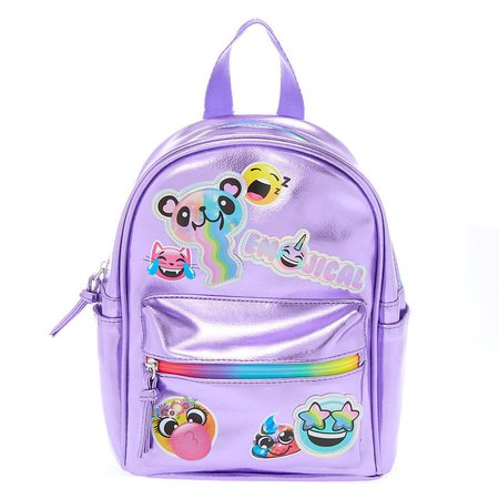Emojical Metallic Mini Backpack - Lilac   Claire's US