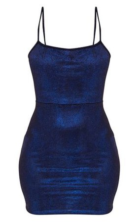 Blue Glitter Metallic Tie Back Bodycon Dress | PrettyLittleThing