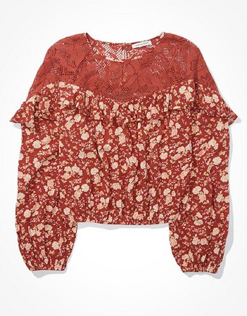 AE Floral Lace Blouse red