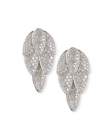 SUTRA 18K White Gold Pave Diamond Lotus Leaf Short Drop Earrings | Neiman Marcus