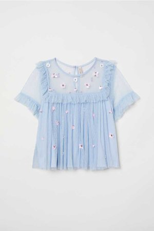 Mesh Blouse with Sequins - Light blue/flowers - Ladies   H&M US