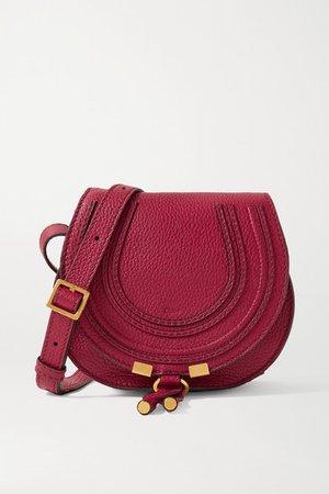 Marcie Mini Textured-leather Shoulder Bag - Claret