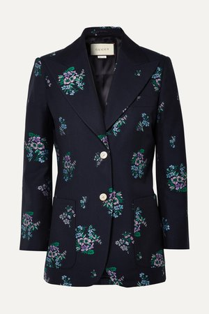 Navy Cotton and wool-blend jacquard blazer | Gucci | NET-A-PORTER
