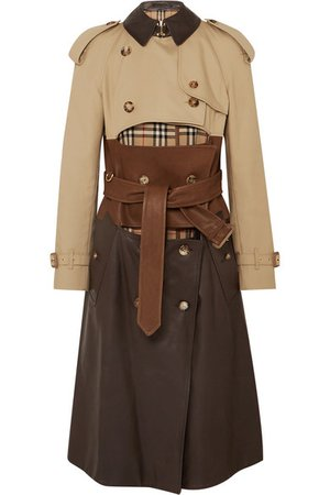 Burberry | Paneled leather, cotton-gabardine and canvas trench coat | NET-A-PORTER.COM