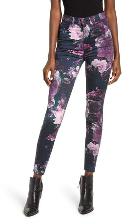 7 For All Mankind(R) High Waist Floral Ankle Skinny Jeans