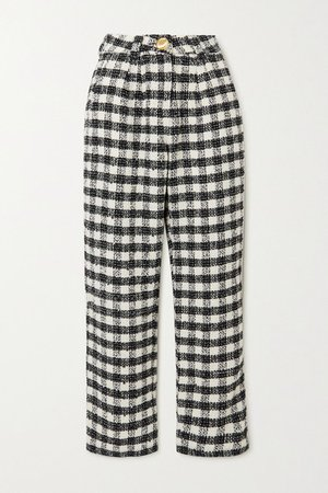 Checked Tweed Straight-leg Pants - Black