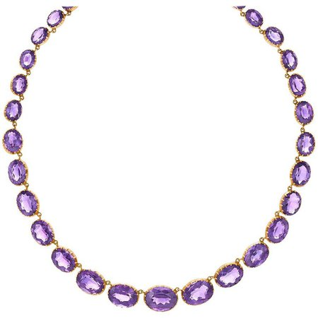 Victorian Amethyst Riviere Necklace For Sale at 1stdibs