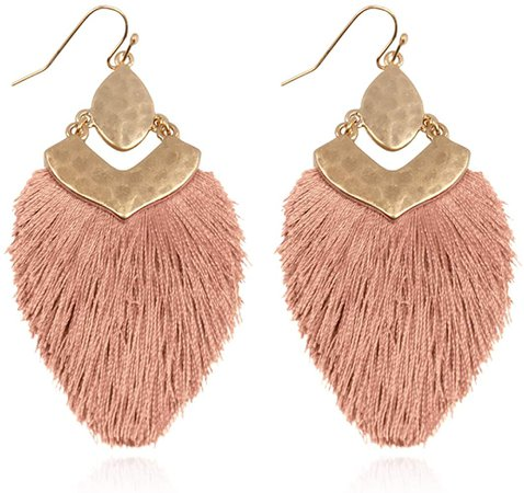Amazon.com: Bohemian Silky Thread Fan Fringe Tassel Statement Earrings - Lightweight Strand Feather Shape Dangles (Bohemian Fringe - Mint): Clothing