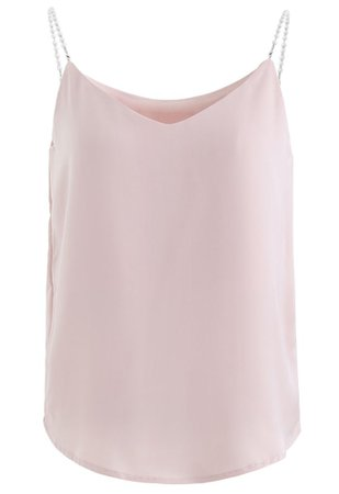 Pearl Straps Satin Cami Tank Top in Pink - Retro, Indie and Unique Fashion