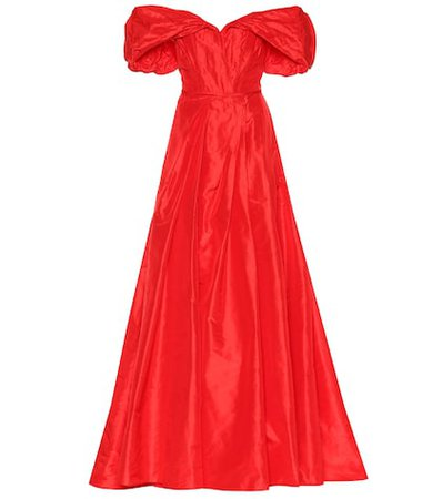 Silk taffeta off-the-shoulder gown