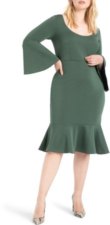 Bell Sleeve Ruffle Hem Dress