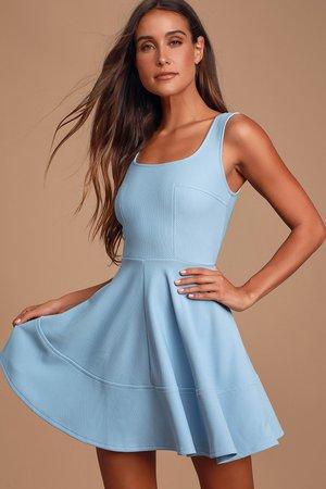 Pretty Periwinkle Dress - Skater Dress - Lulus