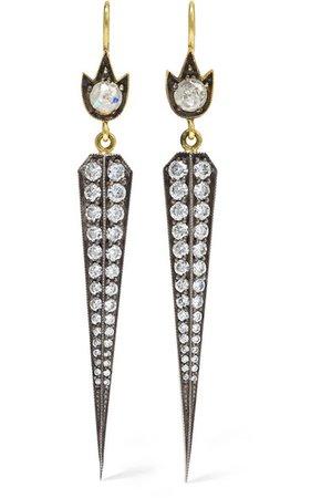 Sylva & Cie | 18-karat gold, sterling silver and diamond earrings | NET-A-PORTER.COM