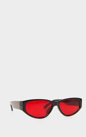 Black Frame Red Lens Retro Sunglasses | PrettyLittleThing