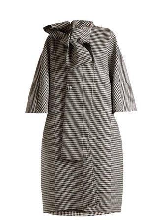 Manteau à col noué et motif pied-de-poule | Balenciaga | MATCHESFASHION.COM FR