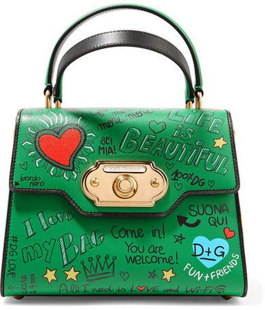 Welcome Small Printed Leather Tote - Green