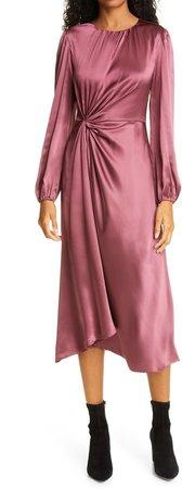 Wanda Long Sleeve Gathered Silk Midi Dress