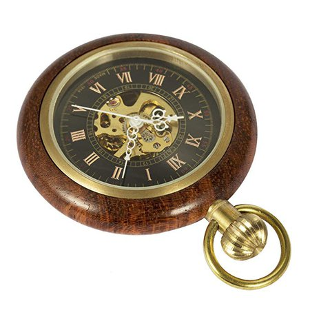 ManChDa Roman Copper Wood Steampunk Mechanical skeleton Pocket watch with chain Gift Box: Amazon.co.uk: Watches