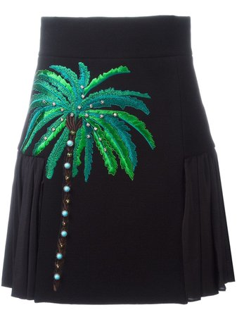 Fausto Puglisi Embroidered Side Pleat Skirt - Farfetch