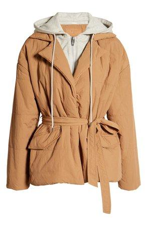 BLANKNYC Hooded Quilted Tie Waist Jacket | Nordstrom