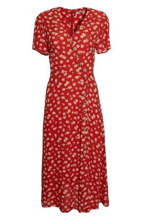 Madewell Hibiscus Print Button Wrap Midi Dress | Nordstrom