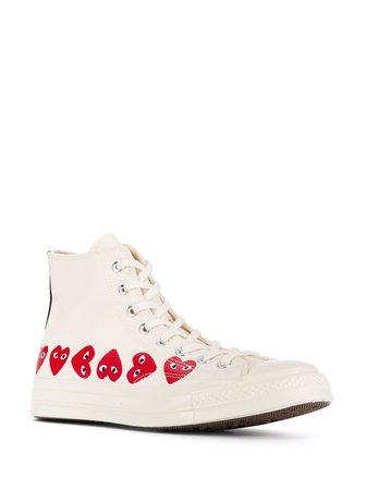 Comme Des Garçons Play X Converse Chuck Taylor High-Top Sneakers UAZK116 White | Farfetch