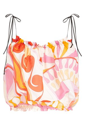 Printed Cropped Top in Cotton and Silk Gr. IT 44