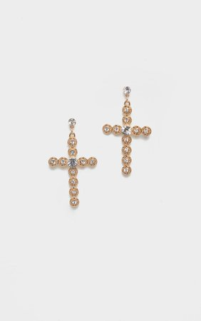 Gold Diamante Crystal Cross Earrings | PrettyLittleThing AUS