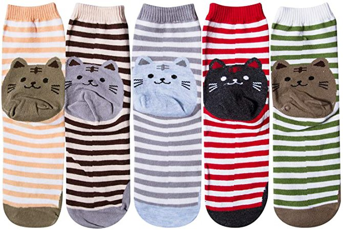 Chalier 5 Pairs Womens Funny socks Cozy Cute Printed Patterned Fun Socks Novelty Cat Socks for Women Gifts at Amazon Women's Clothing store