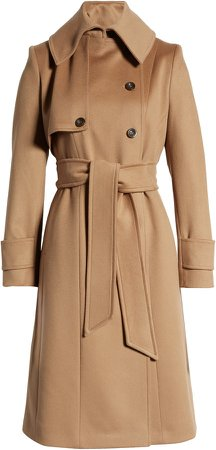 Double Breasted Belted Wool Hooded Coat
